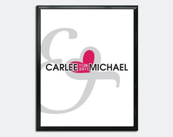 Wedding Guest Book Poster PDF - Ampersand & Heart - Personalized Printable