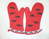 Mustache Barbeque Oven Mitt Set,  Red Insulated Hot Pad, Wild Crow Farm Farmhouse Kitchen
