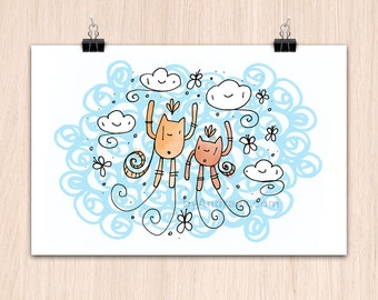 "12x9"" Cats and Clouds (Color Print)"