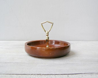 Wood Snack Bowl, California Redwood Handled Candy Bowl Serving Dish, Midcentury Modern Tableware, Newlywed Gift, Mad Men Inspired Home Decor