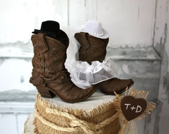 Cowboy boots wedding cake topper-Rustic wedding-Western wedding cake topper-Boots cake topper-country western topper