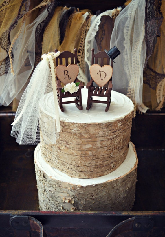 Rocking Chair Cake Topper Rustic Shabby Woodlands Mrand Mrs Country Wedding Bride And Groom Chairs Just Married