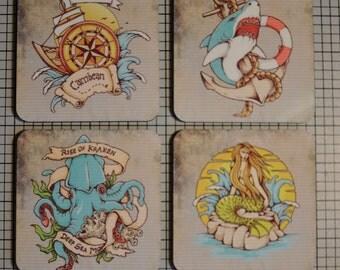 Coaster Set | Coaster Set. Vintage Tattoo Style Cork Back Rockabilly Hipster | Cork Back