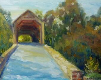 Original Impressionist Oil Painting Sunlit Covered Bridge Bucks County