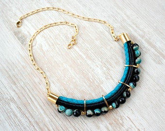 Meteorites Statement  Black & Turquoise colors Agate Necklace by Pardes