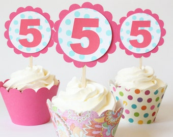 Personalized Cupcake Toppers Colorful Pink Birthday Party Supplies Bright Polka Dot Custom Toppers Girls Birthday Party Age / Set of 12