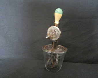 Vintage A.J. Hand Mixer with glass bowl