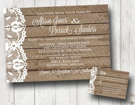 Lace Themed Wedding Invitations: Items Similar To Wood And Lace Wedding Invitation, Vintage