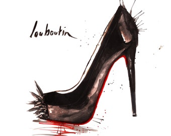 Black Christian Louboutin Asteroid Stiletto, Watercolour Giclée print