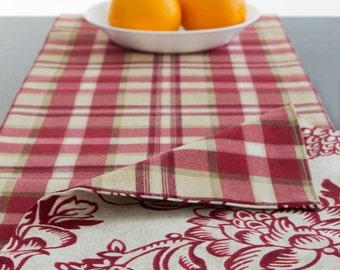 Reversible Table Runner Red Table Runner, Red and off white Table Runner 60 inch, 72 inch, 90 inch, 96 inch, 108 inch, 120 inch long