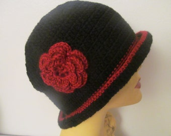 Black Cloche Hat, Black Flapper Hat With Red Flower
