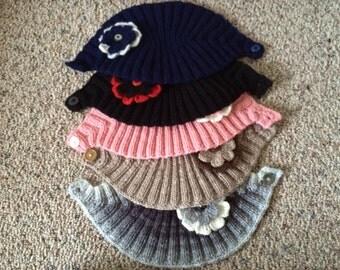 Knit Headband With Flower, Women Wide Headbands, Ear warmers