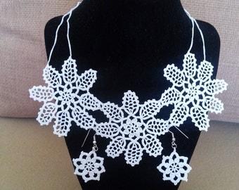 Crochet Wedding Jewelry Set, Women Fashion