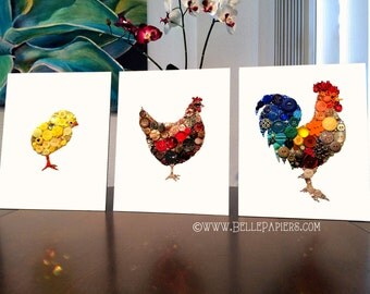 Rooster Wall Hanging Kitchen Decoration Rooster Wall Art Kitchen Art Button Art Unique Kitchen Decoration Cool Kitchen Art country kitchen
