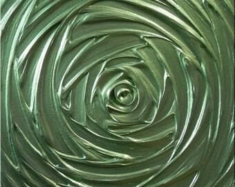 Painting Green Olive Metallic Avacado Healing Vortex of Creation Abstract Acrylic Sculpture 12x12 High Quality Original Modern Fine Art