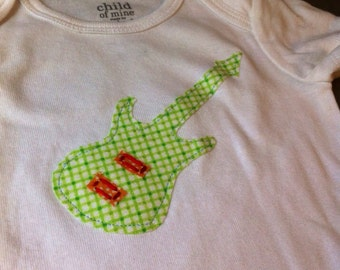 Guitar onesie / Musican onesie / Electric Guitar onesie / Green Guitar onesie / Green red guitar onesie / 6-12 months