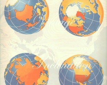 Vintage 4 WORLD GLOBES World Map 1940s
