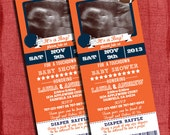 Printable Football Baby Shower  Ticket 4x9 Invitation with photo and Diaper Raffle Ticket cut off-Choose Your Team Colors