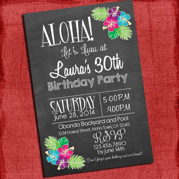 Personalized Luau Invitations for best invitations example