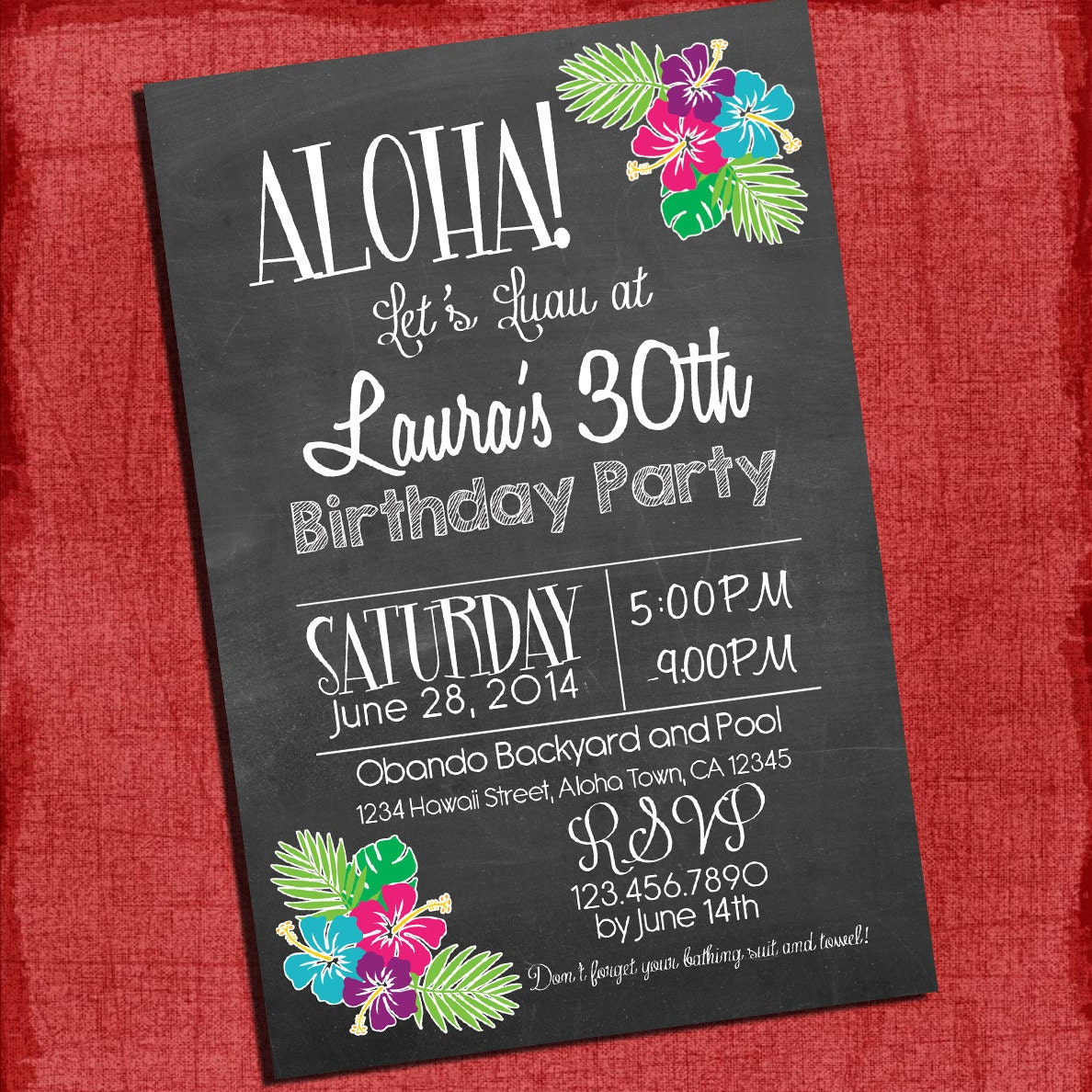 Printable Hawaiian Luau 30th 40th 50th Birthday Chalk Style