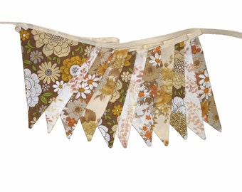 Vintage Bunting - Retro Cafe / Chocolate Brown - Doily Lace Floral Flags .  Shabby Chic Home Decor. Shop or Market Stall Decoration
