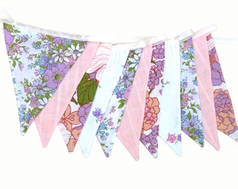 Vintage Wedding Bunting - Retro Pink, Lilac & Lace, Floral Flags.  HANDMADE . Shabby Chic, Party Decoration, Parties, Party, Wedding etc