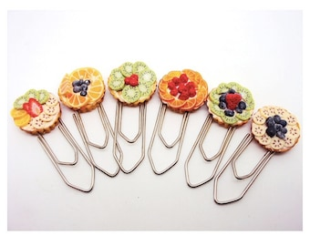 Polymer Clay Miniature Fruit Tarts Paper Clips