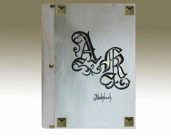 Wedding guestbook, white wedding diary, white guestbook, couple's initials, wedding diary, wedding journal, couple's monogramms