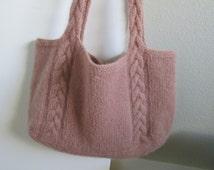 Tote Bag Hand Knit Felted Fulled Cabled Large Market Woodrose Pink