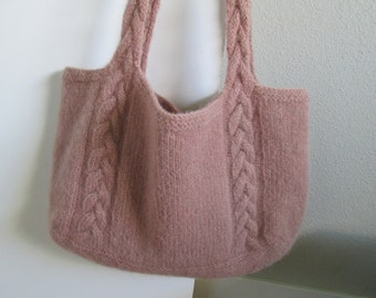 Hand Knit Felted Tote Bag Cabled Market Bag Woodrose Pink Pure Wool