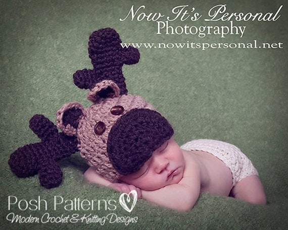 Free Crochet Patterns For Reindeer Hats : Crochet PATTERN Moose Reindeer Hat Crochet Hat by PoshPatterns