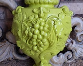 Unique Vintage Funky Wall Decor, Grape Chartreuse Wall Hanging Piece, Hollywood Regency Salon or Restaurant Decor