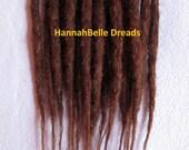 Human hair dreadlock extenders extensions, #33 auburn, on the weft, RTS