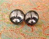 20% OFF -- 16 mm Black and white Raccoon Face Animal  Cuff Links ,Mens Accessories, Perfect Gift Idea