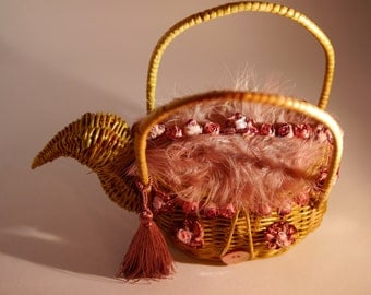 "vintage french handbag 1960 's ""THANKSGIVING"" unique piece  french  vintage"