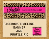 Facebook Timeline Cover Set Cheetah Print and Hot Fuchsia PInk Wild Premade Design