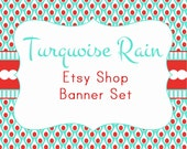 """Etsy Shop Banner Set w/ New Size Cover Photo Turquoise and Red - Pre-made Design """"Turquoise Rain"""" - 6 Piece Set"""