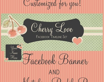 """Facebook Timeline Cover Set Vintage Style """"Cherry Love"""" - Pre-made Pink , Green, Charcoal  Design - 5 Piece Set Cherries and Hearts"""