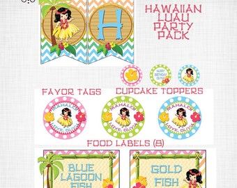 Hawaiian Luau Printable Party Pack! Hula Girl Birthday Banner, Cupcake Toppers, Favor Tags, Labels!