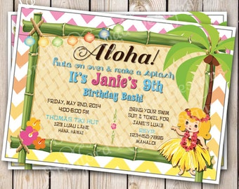 Vintage Hawaiian Luau Invitation Hawaiian Party Invitation Blonde Hula Girl Birthday Invitation Customizable 5x7