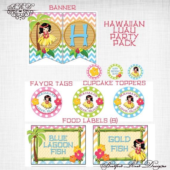 Hawaiian Luau Printable Party Pack Hula Girl Birthday Banner