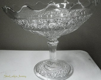 Antique Higbee Hawaiian Lei/ Gala Pattern Glass Compote