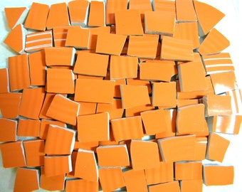 PUMPKIN Orange - Solid Color Stoneware Mosaic Tiles - Recycled Plates - 100 Tiles