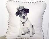 """shabby chic, feed sack, french country, vintage Jack Russel terrier graphic with crown and  french ticking welting 14"""" x 14"""" pillow sham."""