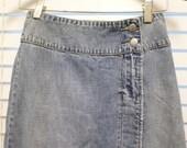 "Long Jean Skirt Small 100% Cotton  Maxi Side Slits Grunge Boho 26"" waist Hipster Acid Washed High Waisted"