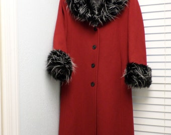 Awesome Vintage Long Red Princess Coat.  Full length / Wool Avante Guarde Size 6 / Faux Fur Collar / Fur Sleeves Princess Coat.Small/ Belted