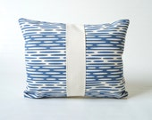Screen Printed Organic Eco Friendly Pillow Cover - Denim Blue Water Design