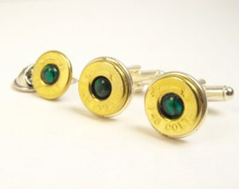 Bullet cufflinks brass and green paua shell cufflinks and pin 45 Colt