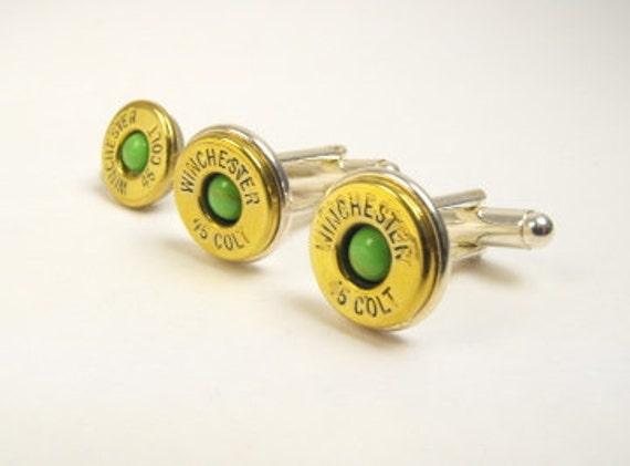 Bullet cufflinks brass and gaspeite cufflinks and pin
