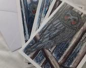 OWLS in Winter, Blank Notecards, Set of 4, Original Design